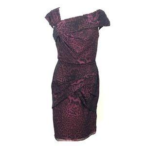 Tadashi Shoji Leopard Print Silk Dress